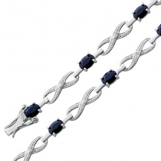 Armband Saphir Diamant Silber 925 nachtblau