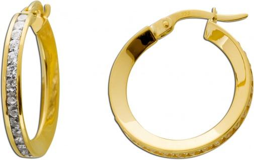 Creolen Gelb Gold 333 klare Zirkonia