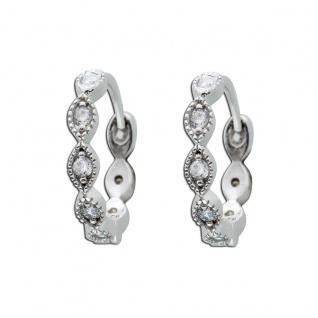 Creole Silber 925 Ohrringe Klappcreole weiß Zirkonia