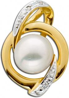 Weißer Perlen Anhänger Gelb Gold 585 Diamant 0, 02ct W/P