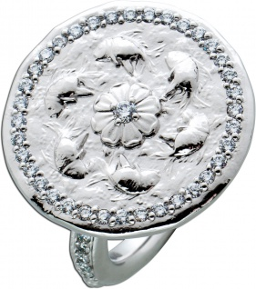 Koi Coin Ring Weissgold 750 Diamanten Brillanten ca 0, 57ct TW/VS by