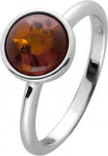 Bernstein Ring Silber 925 cognacfarbener brauner runder Edelstein