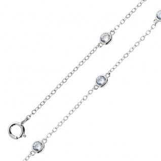 Fußkettchen Fusskette Zirkonia weiß beweglich Silber 925