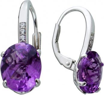 Ohrringe lilafarbenen Amethyst Silber 925/- Zirkonia Edelstein