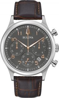 Bulova Classic Uhr 96B356 Herren Chronograp Leder Armband Edelstahl