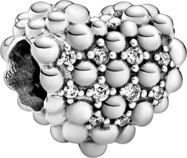 Pandora Charm 798681C01 Beaded Sparkling Heart Herz Kugeldesign Silber