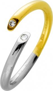 Ring Platin 950 Gelbgold 750 3 Brillanten 0, 02ct TW/LP