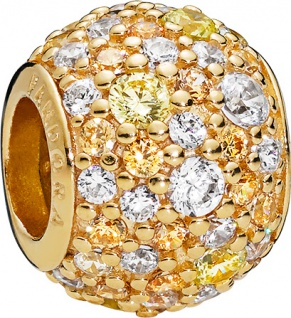 PANDORA Shine Charm 768646c01 Golden Mix Pave Ball Zirkonia Silber 925