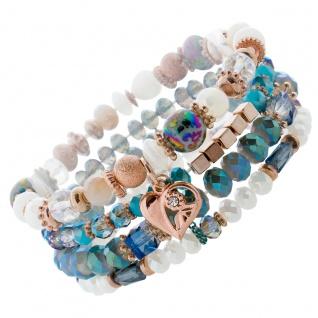 4-teiliges Armband Set bunten blauen Glaskugeln rose vergoldet Metall