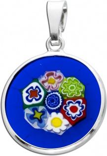 Murano Murrina Anhänger Silber 925 Blumenmuster Murrina Glas