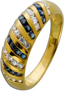 Blauer Edelstein Ring Saphiren Gelbgold 333/- weißen Zirkonia