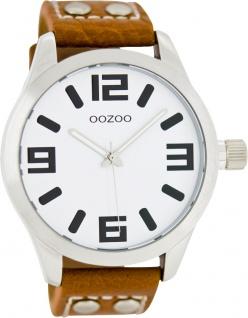 OOZOO SALE Uhren C1051 braunes Lederarmband Nieten silber Gehäuse