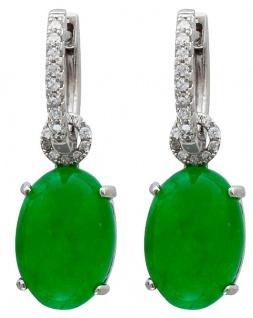 Edelstein Ohrringe Klappcreolen Silber 925 grünem Quarz weisse