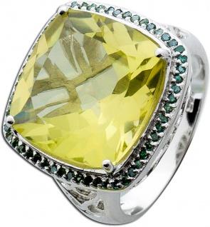 Edelsteinring Silber 925 Limonenquarz grüne Diamanten