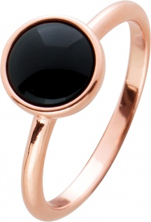 Onyx Ring Silber 925 rose vergoldet schwarzer runder Edelstein