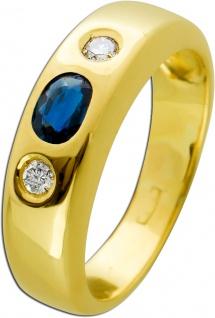 Antiker Saphir Brillant Ring 70er Jahren blauen Saphir Gelbgold 585