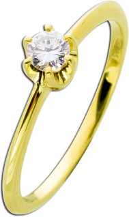 Verlobungsring Brillant Gold 585 Diamant Ring 14kt Solitärring 0, 20ct