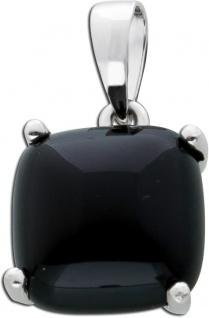 Schwarzer Onyx Anhänger quadratisch Silber 925 Edelsteinschmuck