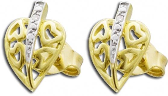 Diamant Blatt Ohrstecker Gelb Gold 585/- 0, 006ct W/P1 Diamant