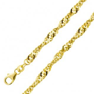 Goldkette Goldarmband Singapurkette 3, 6mm Gelbgold 333 massiv poliert