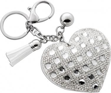 Taschenanhänger Schlüsselanhänger Herz Kristalle weiß Bommel