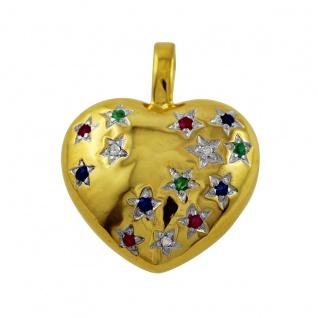 Anhänger Herzanhänger Gelb Gold 333 roter Rubin blauer Saphir