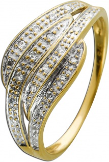 Geschwungender Ring Gelbgold 333/-8kt Diamanten 8/8 W/P zus. 0, 10ct,
