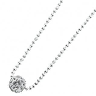 Runde Kristallkugelkette Halskette Sterling Silber 925/-