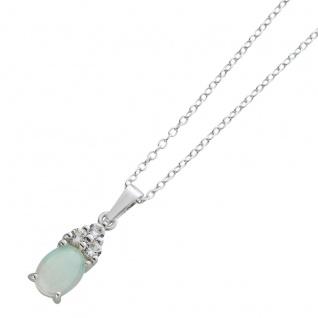 Ankerkette ovalförmigen Opal weißen Topasen Silber 925 Damenschmuck