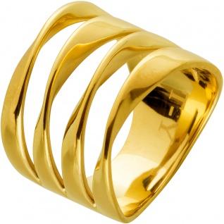 Designer Ring futuristisch vergoldet Edelstahl Design By T-Y