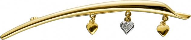 Brosche Gelbgold Weissgold 333 Diamant 8/8 0, 01ct W/I1