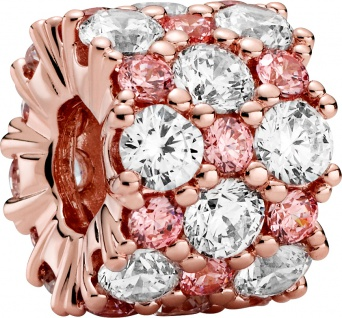 Pandora Timeless Charm 788487C01 Pink And Clear Sparkle Rose Klare
