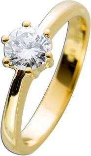 Diamantring Gold 585 Brillant 0, 73ct TW G / VVS1 IGI Zertifikat