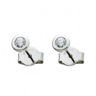 14 Karat Ohrringe Diamant Brillant Solitär Ohrstecker Weißgold 585