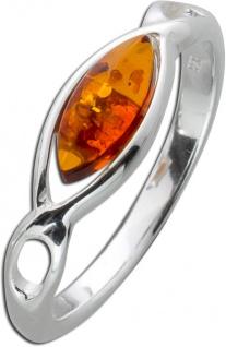 Bernstein Ring Braun Orange Cognac Silber 925 eckig Navette Bernstein