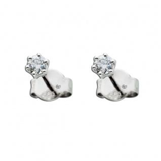 Solitär Ohrringe 0, 25ct TW/IF Diamanten Weißgold 585 14 Kt
