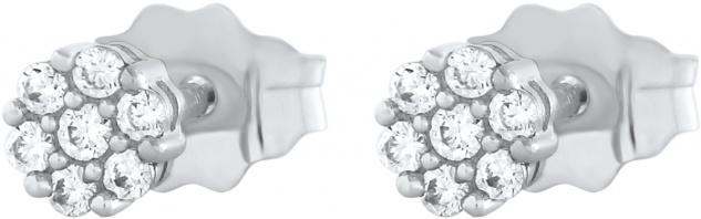 Blumen Ohrstecker 0, 08ct W/I1 Weissgold 375 Diamanten Brillanten