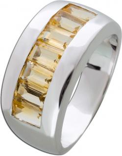 Edelstein gelb Ring Silber 925 Citrin Baguette Schliff Silberring