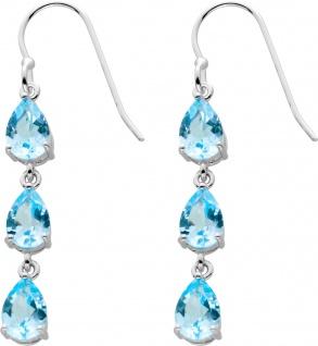 Bewegliche Blautopas Ohrhänger Silber 925 Edelsteine Tropfenform