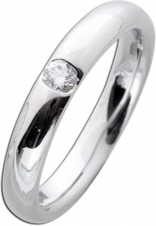 Bandring Diamant Weißgoldring 585 poliert Brillant 0, 10ct W/SI
