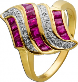 Rubin Brillant Ring Gelbgold 750 rote Carree Rubine Brillanten