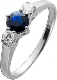 Ring Weissgold 585 2 Brillanten 0, 16ct TW/VVS Saphir Edelstein 0, 62ct