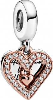 Pandora Charm Anhänger 788693C01 Rose Sparkling Freehand Heart klare