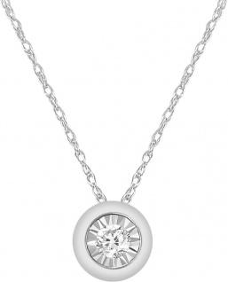 Solitär Collier Halskette Weissgold 375 Diamant Brillant 0, 08ct W/I1