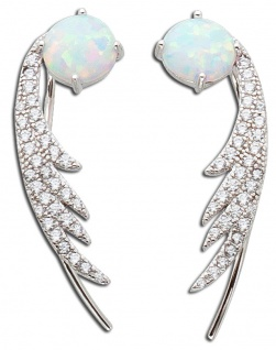 Opal Ohrringe Fakepiercing Silber 925 Zirkonia weiss