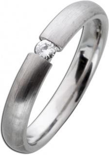 Diamandbandring weiß grau längsmattiert Platin 950 Brillant 0, 05ct