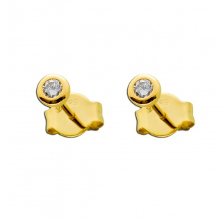 Solitär Ohrstecker Ohrringe Diamant Brillant Gold 585 0, 15 Carat TW /