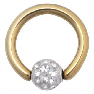 WILDCAT Piercing Clip in Ring Titan PVD gold 1, 6mm Stärke Kugel