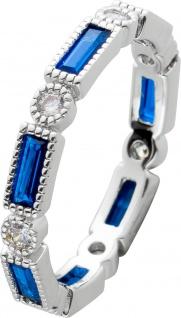 Ring Silber 925 mit Safirblauen Zirkonia und weissen Zirkonia