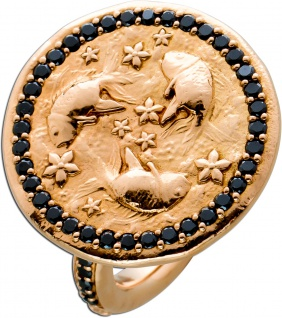 Koi Coin Ring Rosegold 750 schwarze Diamanten Brillanten ca 0, 64ct by